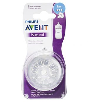 Philips Avent Natural Teat 3+ Months, Pack of 2